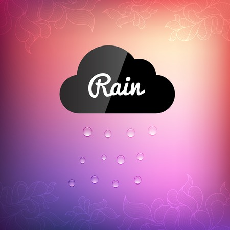 rain drop: Retro background with cloud rain drop icon, vector weather pattern triangle geometric shapes Illustration