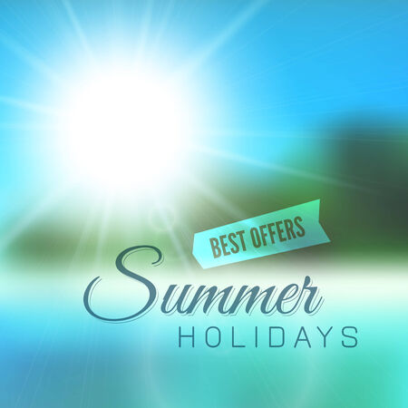 Blurry beach and blue sky with summer sun burst, vector background illustration Vector