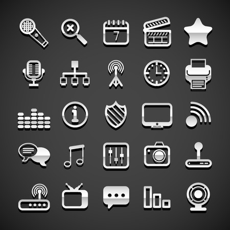 Flat metallic universal icons set, vector illustration Vector