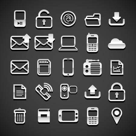 Flat metallic universal icons set, vector illustration Vector