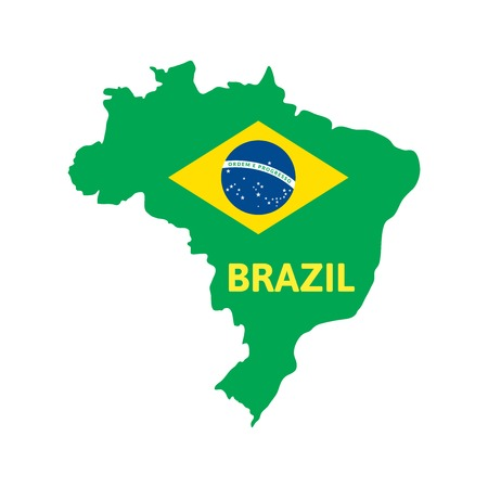 brasilia: Flat simple Brazil map, vector background illustration Illustration