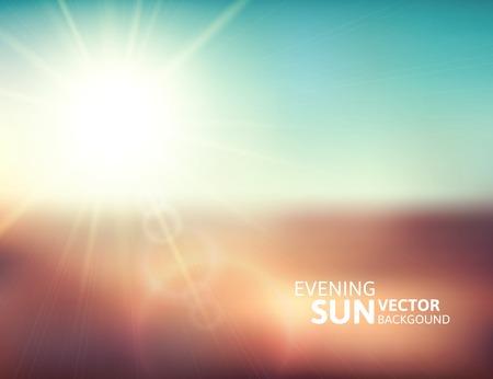 sunshine: Blurry evening scene with brown field, sun burst, blue and green blur sky, vector illustration Illustration