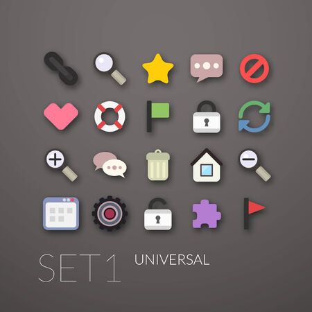 Flat icons set 1 - universal collection Vector