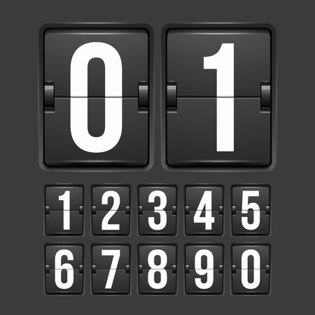 Countdown timer, white color mechanical scoreboard with different numbers Vettoriali