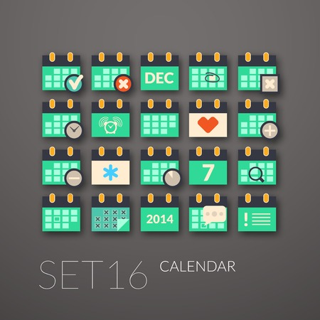 Flat icons set 16 - calendar collection Vector