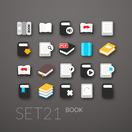 Flat icons set 21 - book collection Stock Vector - 27200522