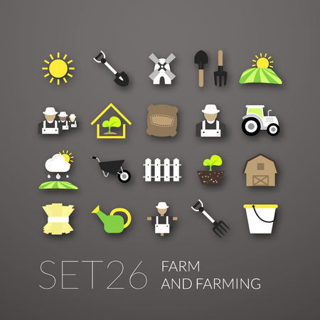 Flat icons set 26 - farm and farming Vector