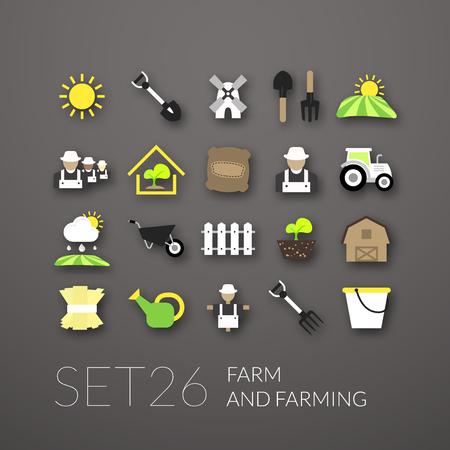 farming: Flat icons set 26 - farm and farming