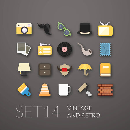 Flat icons set 14 - vintage collection Vector