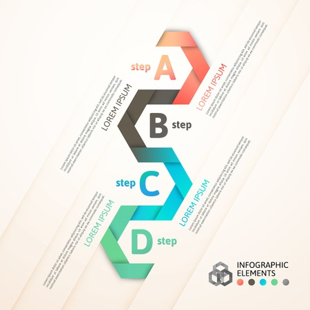 Modern business step origami style options banner, vector illustration Vector