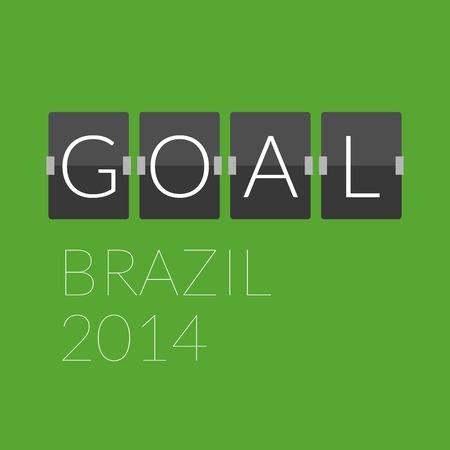 soccer goal: Flat goal football soccer concept letter, mechanical panel letters