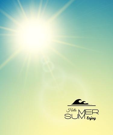 verano: Fondo del verano con un sol de verano estallar con reflejo en la lente, verde atardecer ilustraci�n vectorial