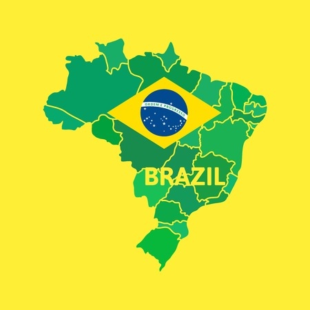 Flat simple Brazil map, vector background illustration Illustration