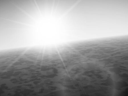 clear sky: Sunset at sea, horizon with summer sun, ocean and clear sky, black and white vector background illustration