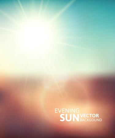sunlight: Blurry evening scene with brown field, sun burst, blue and green blur sky, vector illustration Illustration