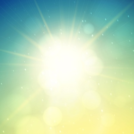Summer background, summer sun with lens flare Vector
