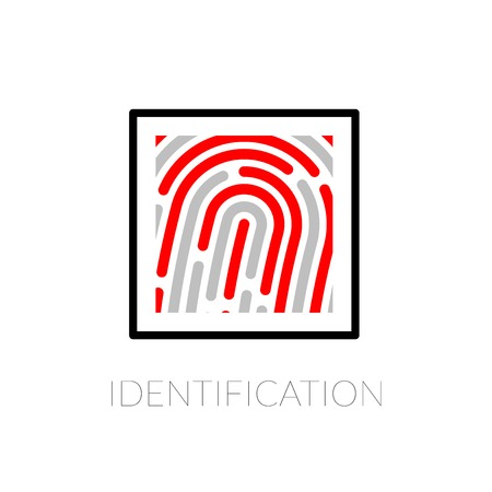 Fingerprint identification system, black symbol with red strip isolated on white background Vector