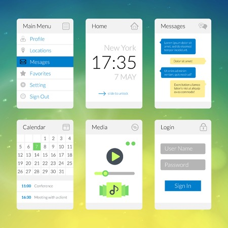 Mobile flat interface elements with colorful wallpaper, design for applications Vector