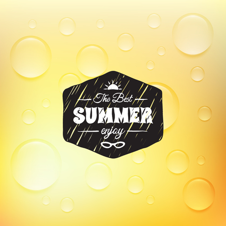 rain drop: Retro summer label in doodle sketch style isolated on glass background with rain drop, vintage calligraphic design card Illustration