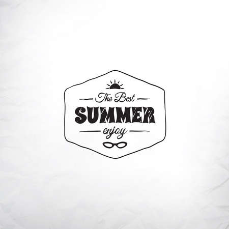 Retro summer label in doodle sketch style isolated on glass background with rain drop, vintage calligraphic design card Vector