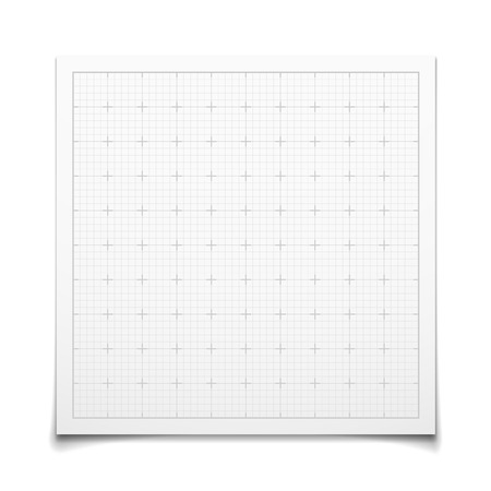 millimeter: White isolated square grid with shadow Illustration