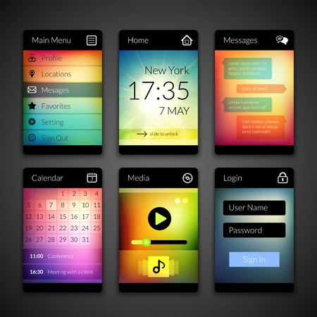 Mobile interface elements with colorful wallpaper, design for applications Vector