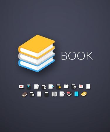 marca libros: Iconos planos Set 21 Vectores
