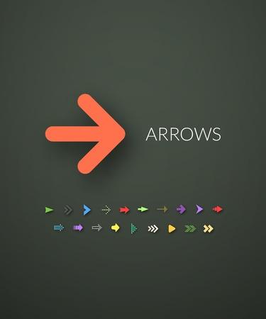 flecha: Iconos planos establecen 28 Vectores