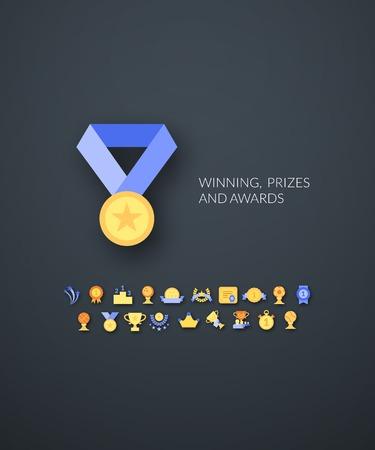 achievement: Flat icons set 28