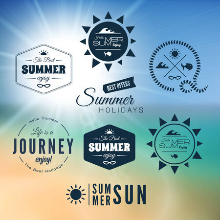 beach sea: Vintage summer holidays typography design Illustration