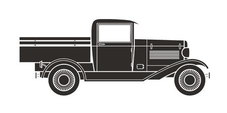 Retro pickup, truck car, vintage collection Illustration