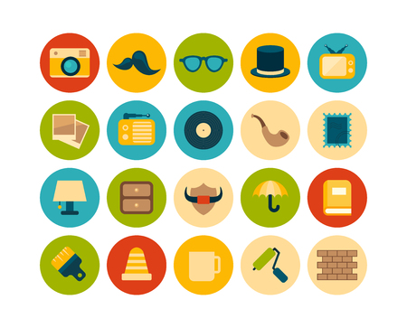 Flat icons set 14 Vector