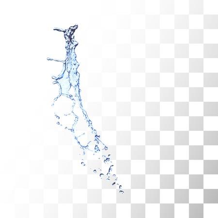 Blue water splash geïsoleerd op wit Stock Illustratie