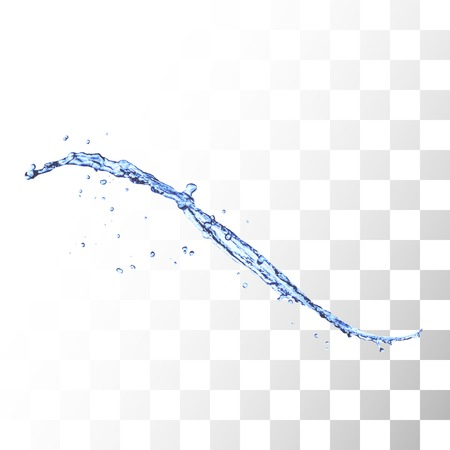 water flow: Blue water splash isolated on white