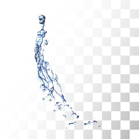 Salpicaduras de agua azul aislado en blanco