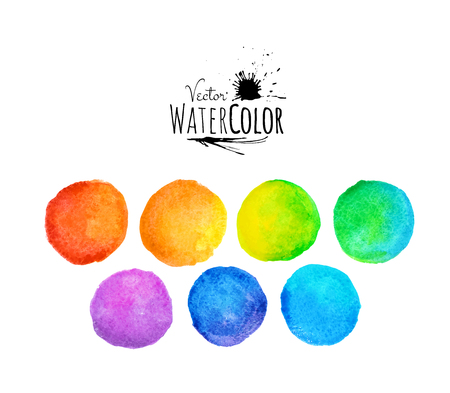 blue circle: Colorful set vector isolated watercolor paint circles