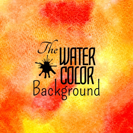 Abstract vector hand drawn red orange yellow color watercolor background Vector
