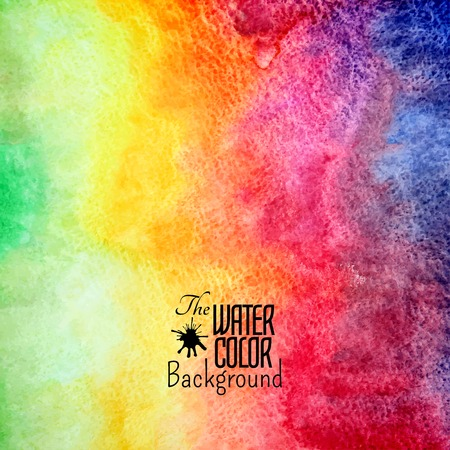 Abstract vector hand drawn rainbow color watercolor background Illustration