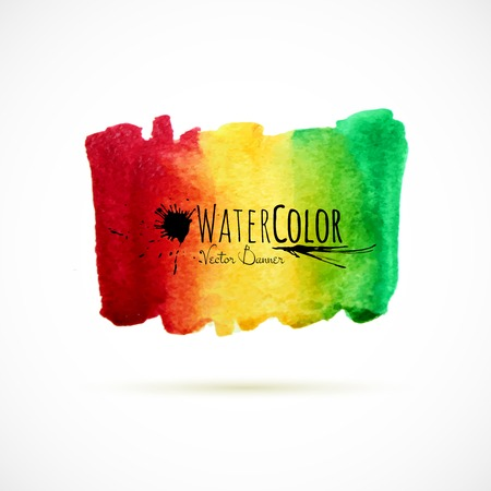 Watercolor bright colors painted isolated banner Vector