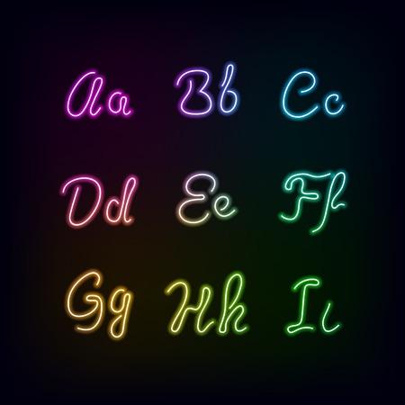 martinet: Neon arc-en-couleur lueur alphabet.