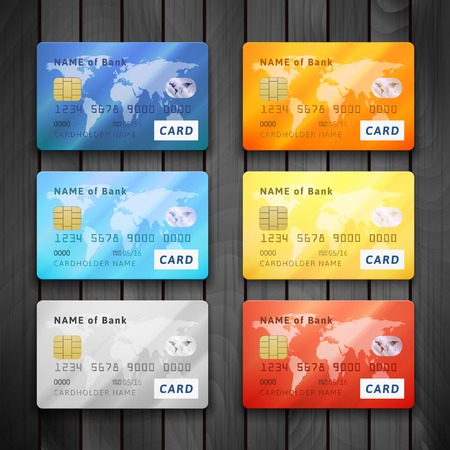 e card: Set of detailed glossy credit cards