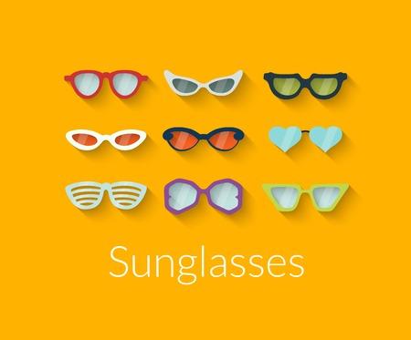 Flat set of vector sunglasses Vector