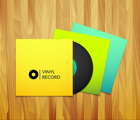 Black vintage vinyl record with blank yellow blue cyan and green cover case isolated on brown wood texture background Vector