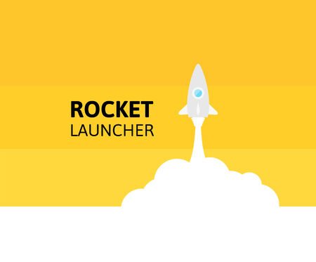 launching: Yellow rocket and white cloud, icon in flat style, vector illustration Illustration