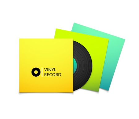 Black vintage vinyl record with blank yellow blue cyan and green cover case isolated on white background Vector