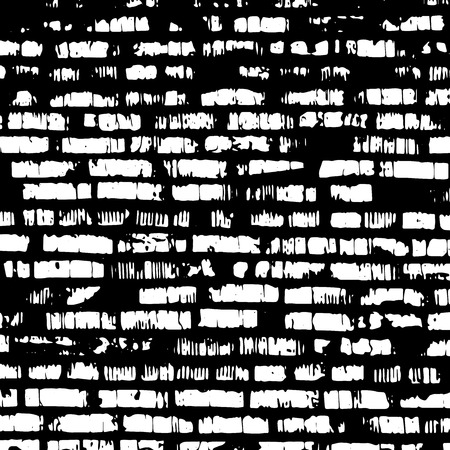 stone mason: Brick wall, black and white relief texture with shadow Illustration