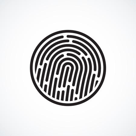指紋同定システム、白で隔離される黒い記号