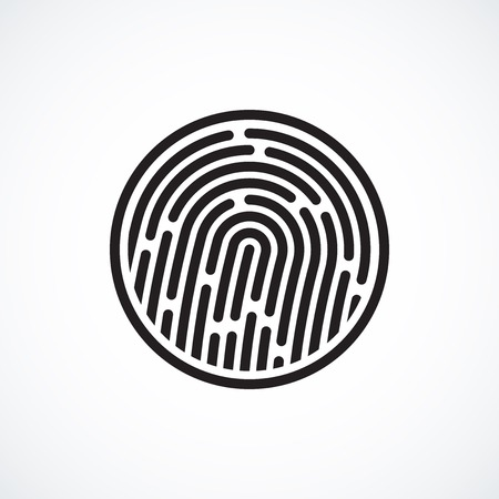 Fingerprint identification system, black symbol isolated on white Vector