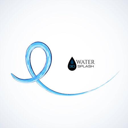 jet stream: Salpicaduras de agua azul 3D aislado en blanco