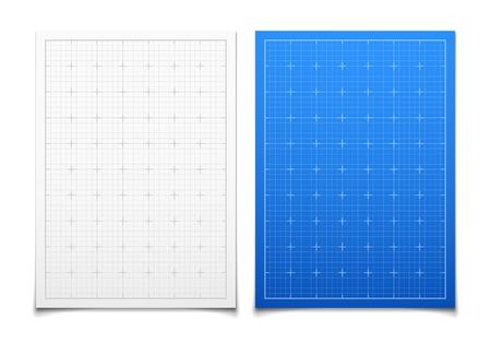 dibujo tecnico: Blanco y azul aislado conjunto rejilla cuadrada con la sombra Vectores